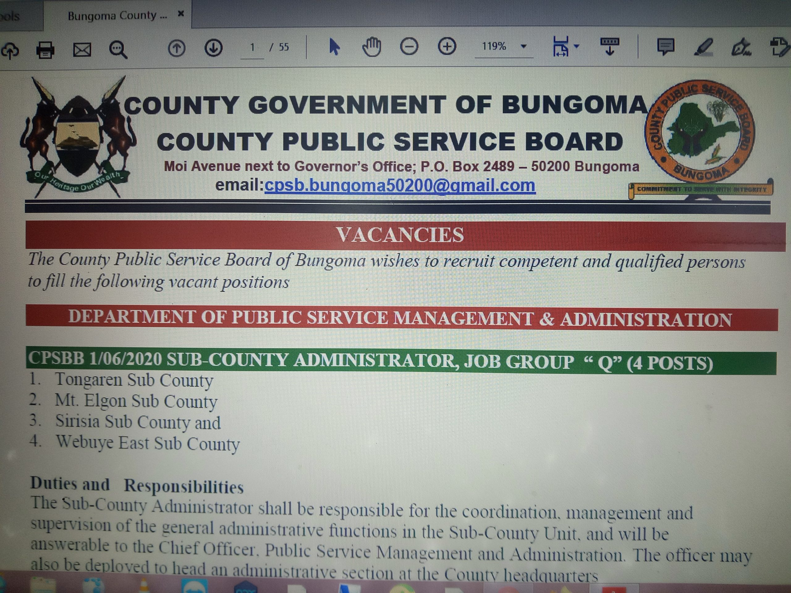 County Directors Vacancy Adverts.