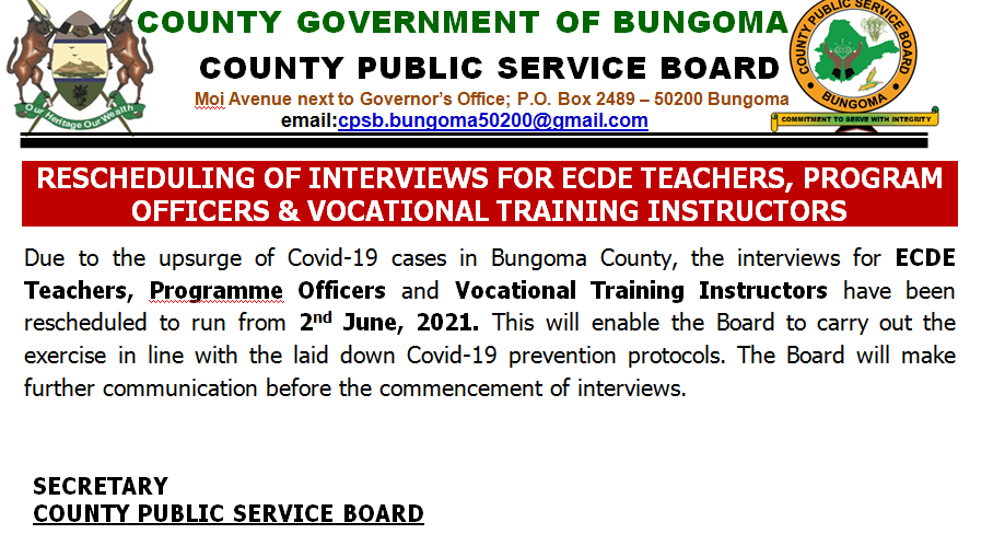 RESCHEDULING OF INTERVIEWS FOR ECDE TEACHERS, PROGRAM OFFICERS & VOCATIONAL TRAINING INSTRUCTORS